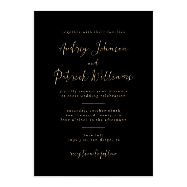 Marble and Gold wedding invites front in black closeup