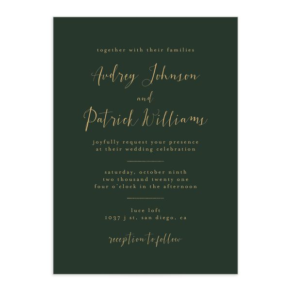 Marble and Gold wedding invites front in green closeup