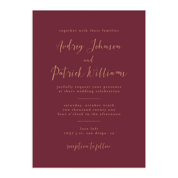 Marble and Gold wedding invites front in red closeup