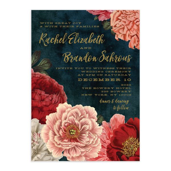 midnight peony wedding invitations