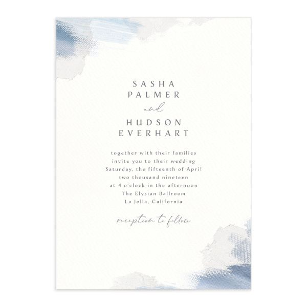 Minimal Brush wedding invitation front blue