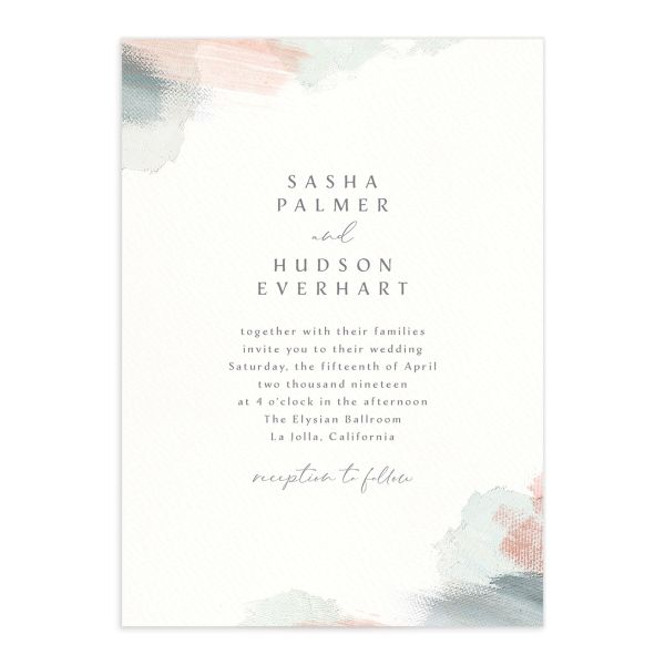 Minimal Brush wedding invitation green front