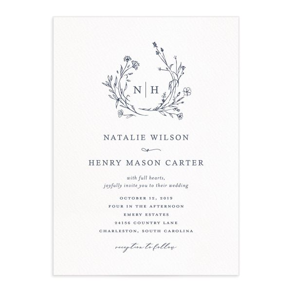 Natural Monogram wedding invitations in blue