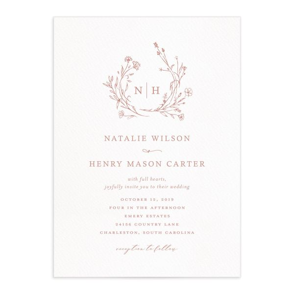 Natural Monogram wedding invitations in pink