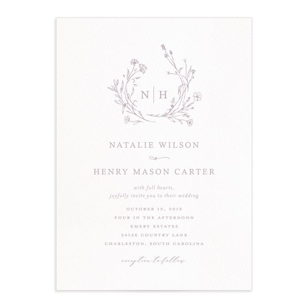 Natural Monogram wedding invitations in purple