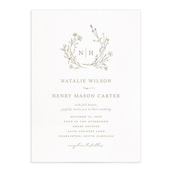 Natural Monogram Wedding Invitations