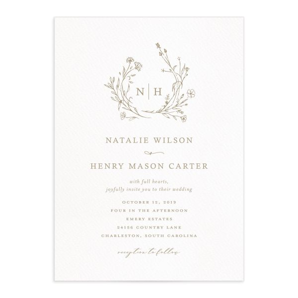 Natural Monogram wedding invitations in tan