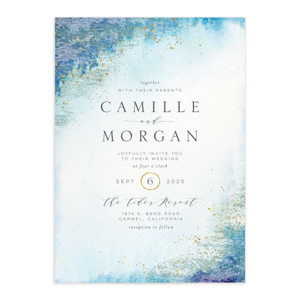 organic luxe wedding invites in blue