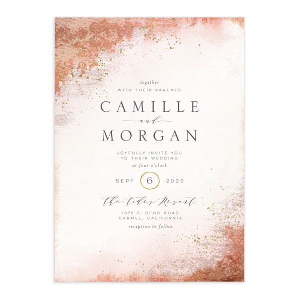 organic luxe wedding invitations in peach