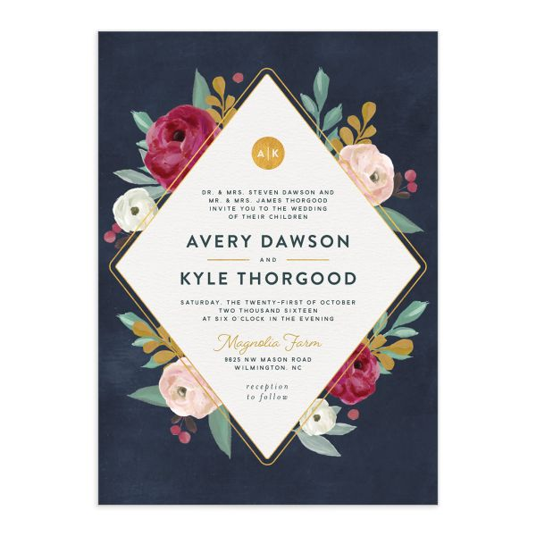 Painterly Blooms wedding invitation