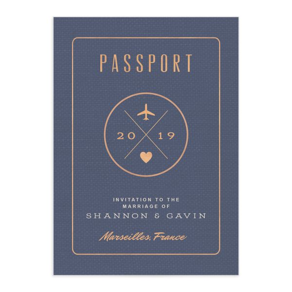 Custom Passport wedding invitation front