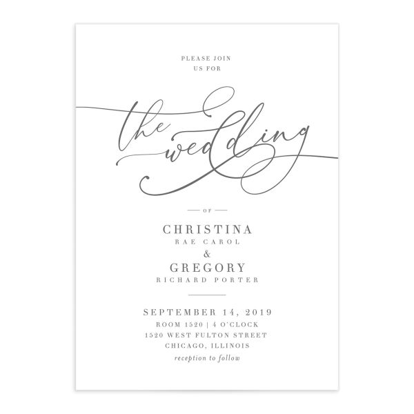 Romantic Calligraphy wedding invite closeup grey front