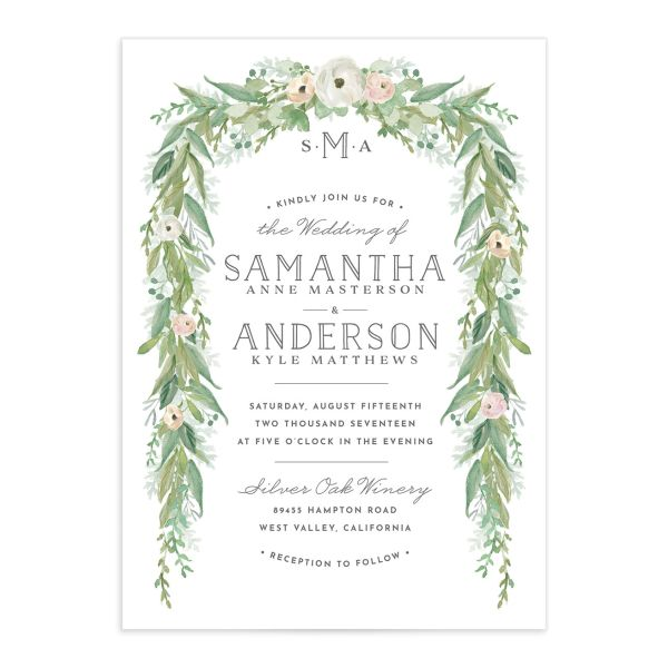 Romantic Garland Wedding Invitations front