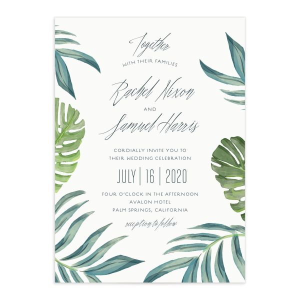 Romantic Palm wedding invitation