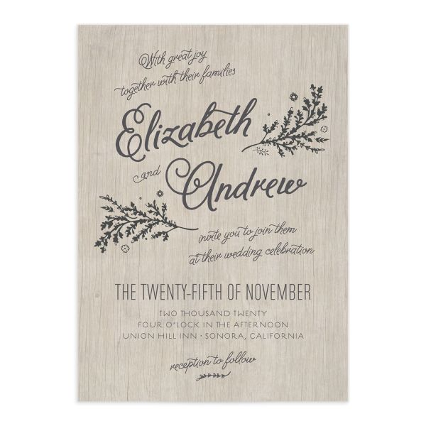 rustic chic wedding invitations in grey