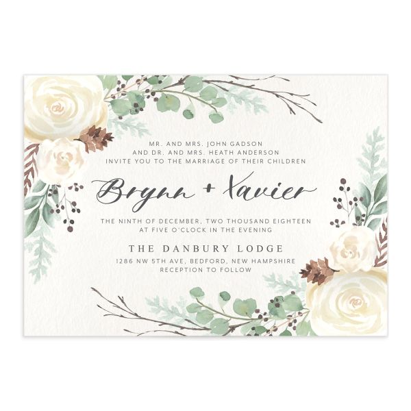 Rustic Botanical Wedding Invitations