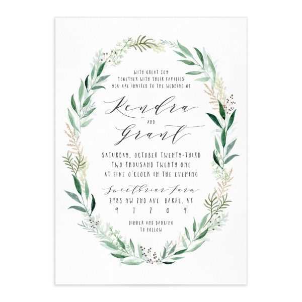 Rustic Wreath Wedding Invitations front