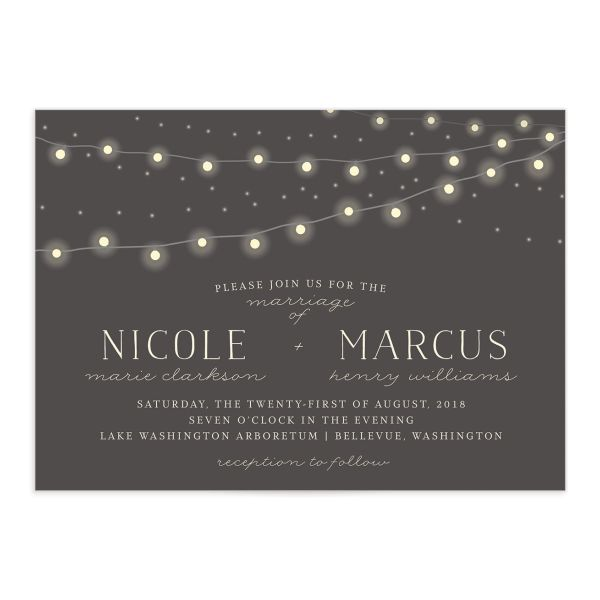 strung lights wedding invitations