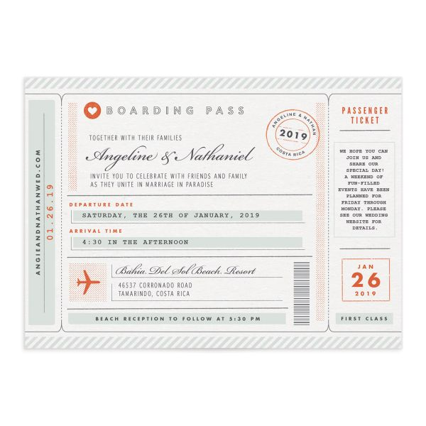 Vintage Boarding Pass wedding invitation front green