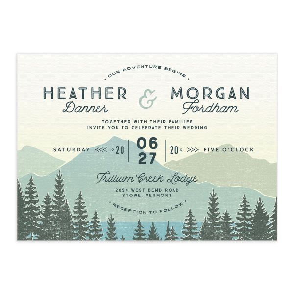 Vintage Mountain wedding invitation closeup