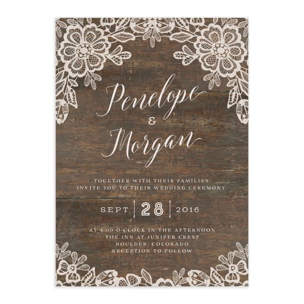 Woodgrain Lace wedding invitation