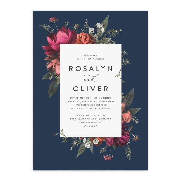Blooming Botanical wedding invitation blue front