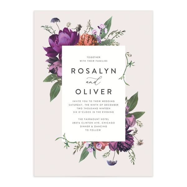 Blooming Botanical wedding invitation purple front