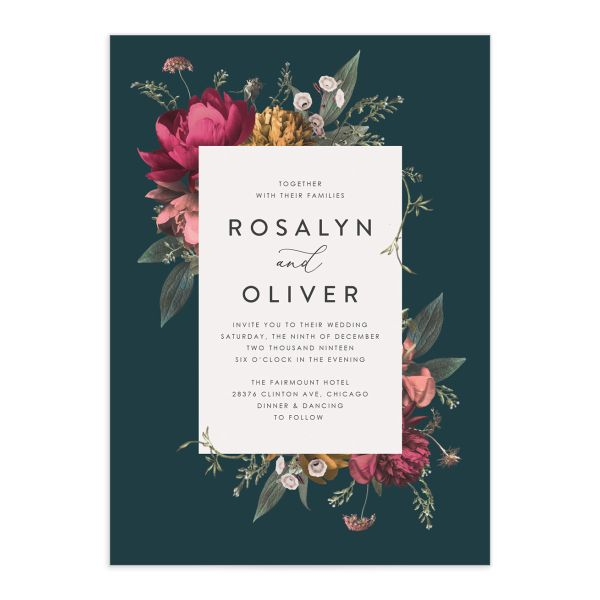 Blooming Botanical wedding invitation teal front