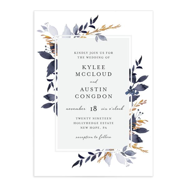 leafy frame wedding invitations in navy