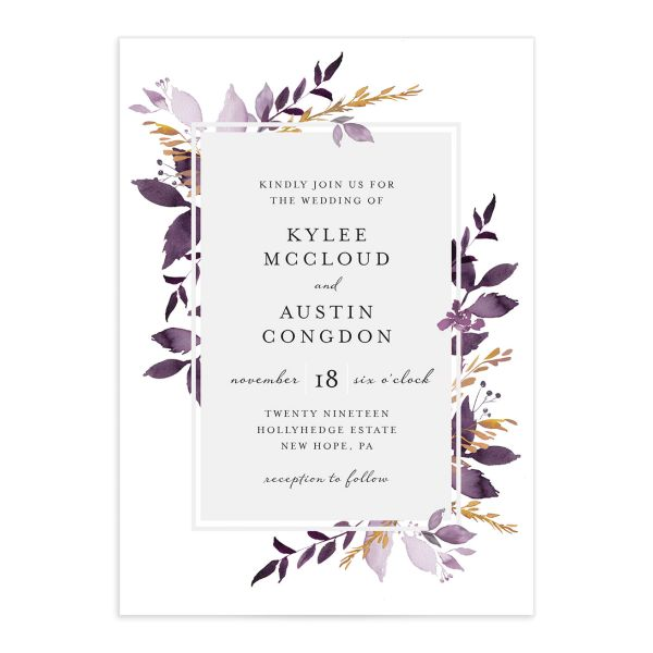 Leafy Frame wedding invitations in purple