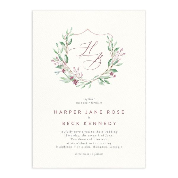 watercolor crest wedding invitations in pink