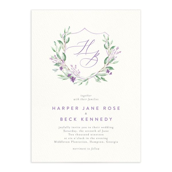 watercolor crest wedding invitations in purple