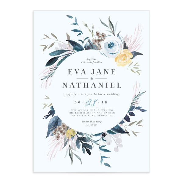 Wild wreath wedding invitations in blue