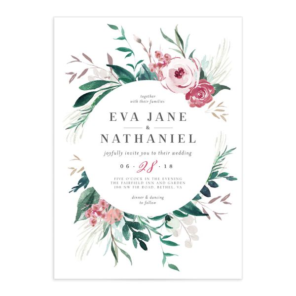 Wild wreath wedding invitations in green