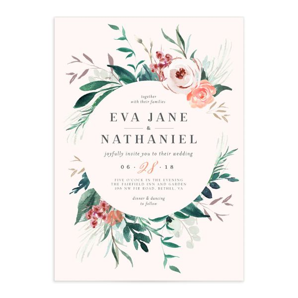 Wild Wreath Wedding Invitations in pink