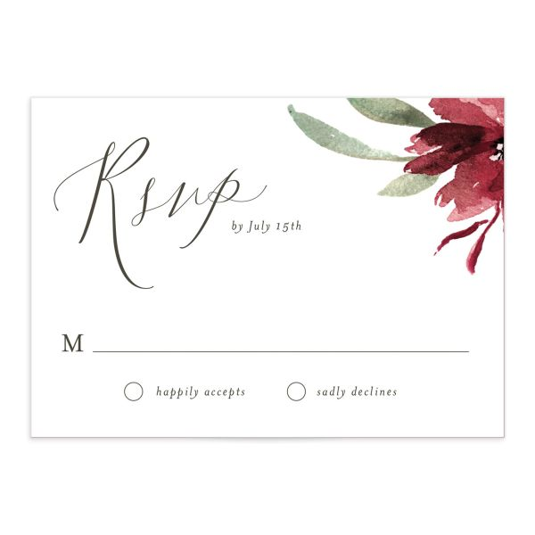 muted floral wedding response cards in burgundy