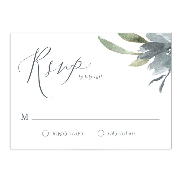 muted floral wedding response cards in dusty blue