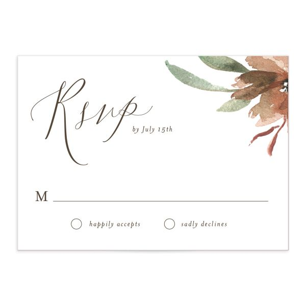 muted floral wedding response cards in copper