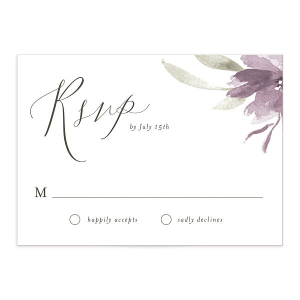 muted floral wedding response cards in purple