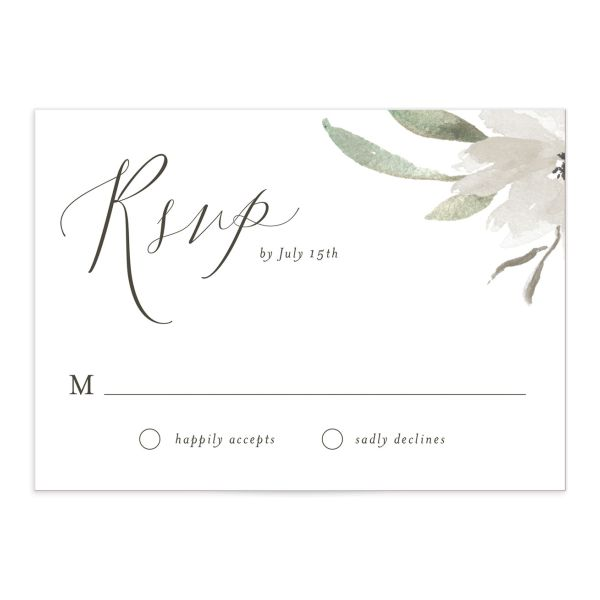 muted floral wedding response cards in white
