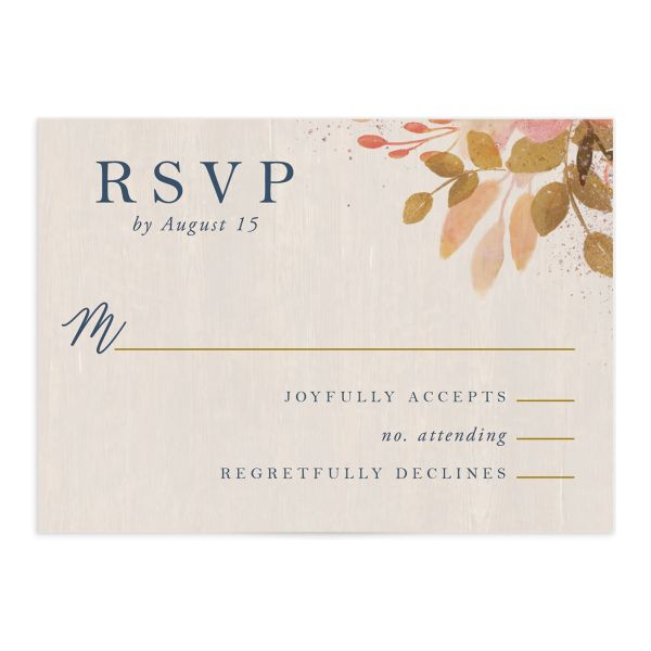 Rustic Leaves Wedding RSVP cards