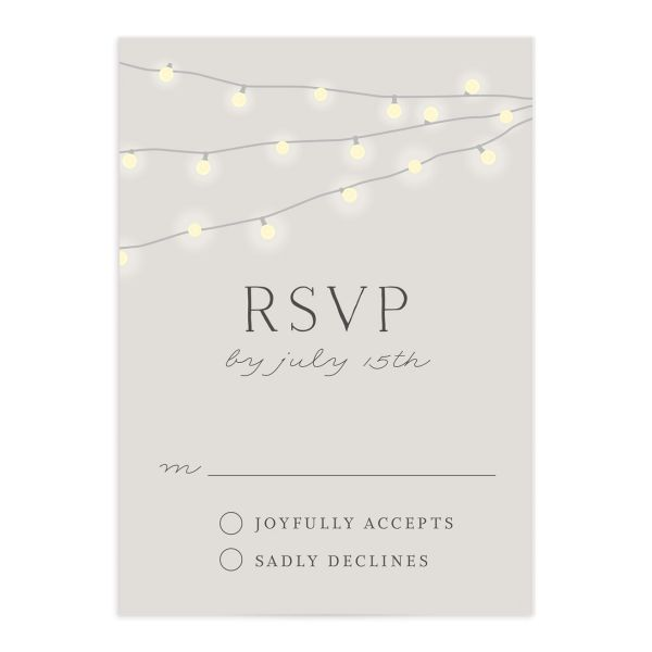 strung lights wedding rsvp cards