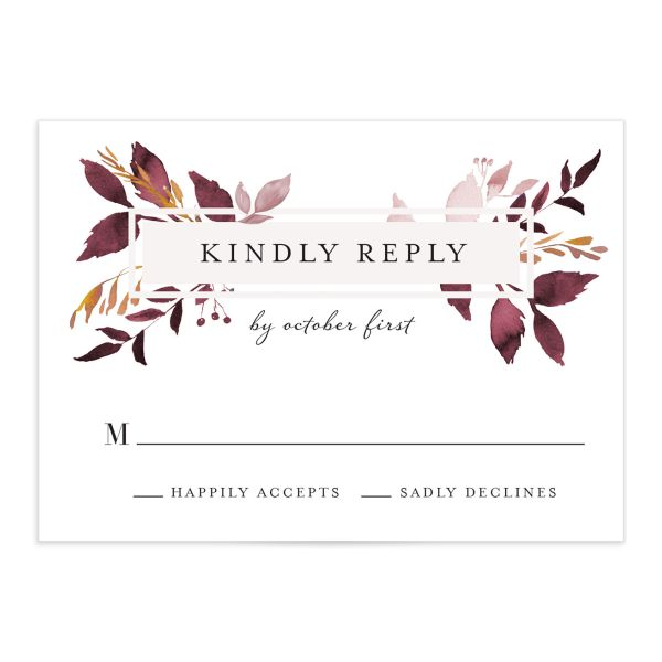 leafy frame wedding rsvp cards in burgundy