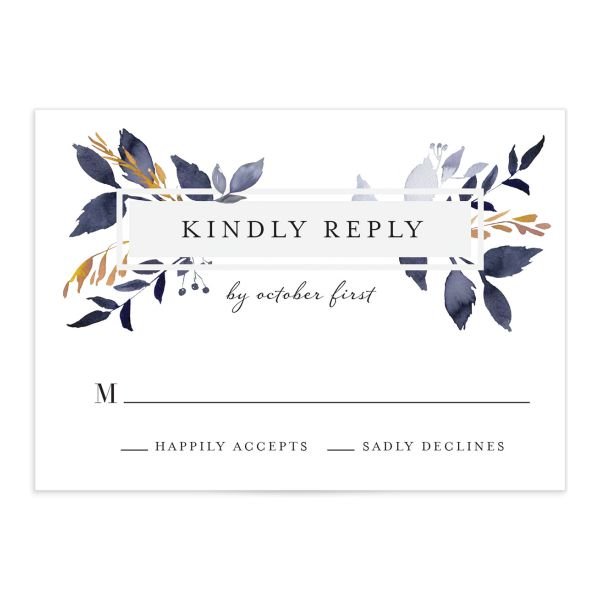 leafy frame wedding rsvp cards in navy
