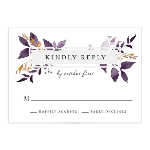 leafy frame wedding rsvp cards in purple