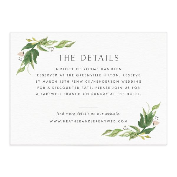 leafy wreath wedding enclosure cards in green