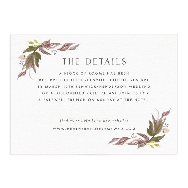 leafy wreath wedding enclosure cards in purple