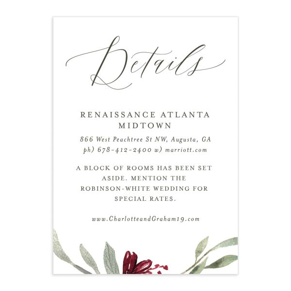 muted floral wedding enclosure cards in burgundy