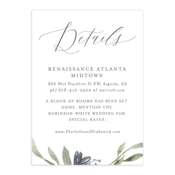 muted floral wedding enclosure cards in dusty blue