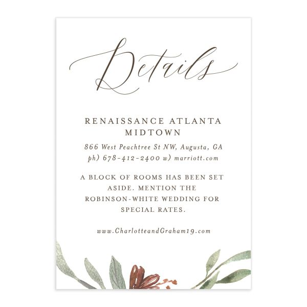 muted floral wedding enclosure cards in coppper